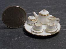 Dollhouse Miniature Kitchen Tea Set Teapot & Tray China 1 inch scale 1:12  A2
