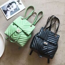New Women Large Chains Handle Embossing Leather Backpack Soft Vintage Bag