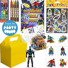 Kids Pre Filled Childrens Boys Superhero Party Bags Yellow Box Birthday Gifts