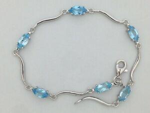 Natural Blue Topaz Bracelet 925 Sterling Silver