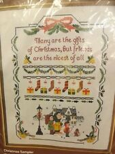 Vtg '70s New Christmas Sampler Printed Cross Stitch Embroidery Kit 14x18 Picture