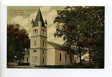 Old Town ME Maine Catholic Church & Convent at Indian Island, antique postcard
