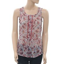 Isabel Marant Paisley Printed Buttondown Lace Blouse Tank Top XS New 201190