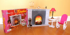 NEW GLORIA DOLL HOUSE FURNITURE FIREPLACE (96006) PLAYSET w/Rocking Chair