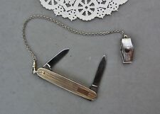 Gentlemans Knife/ Watch Chain w/ Swivel & Belt Clip Imperial Prov USA Art Deco
