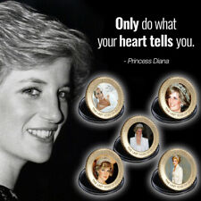 WR 5pcs Princess Diana Gold Colored Coin 20th Anniversary Set For Lady