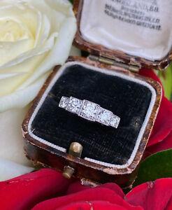 Art Deco Five Stone Diamond Ring Platinum 0.90ct