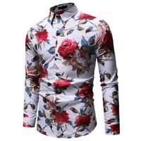 T-shirt men's casual floral formal long sleeve stylish tops slim fit dress shirt