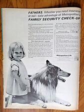 1962 Metropolitan Life Insurance Ad Family Check-Up Little Girl & Collie Dog