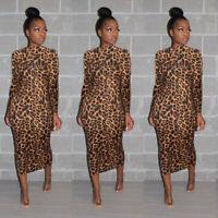 Women long sleeves zipper leopard print casual club party cocktail midi dress