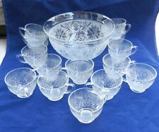 Vintage Anchor Hocking Sandwich Punch Bowl & 14 Cups