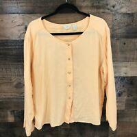 J Jill Women's Peach 100% Linen Snap Front Round Neck Long Sleeve Shirt Jacket