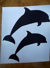 DOLPHIN SILHOUETTE WALL ART DECAL TWO PART STICKERS 8cm X 9cm
