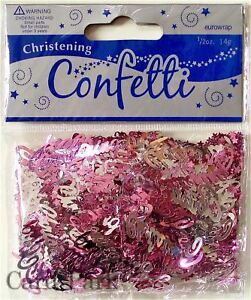 1 PACK BABY GIRL PINK CHRISTENING CONFETTI /  TABLE SPRINKLES  PARTY DECORATIONS