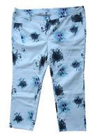 NEU Übergröße schicke Damen Stretch Hose weiß mit tollen Blüten Batikdruck Gr.54