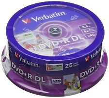 Verbatim 43667 8.5GB 8x Double Layer DVD+R DL Inkjet Printable - 25 Pack Spindle