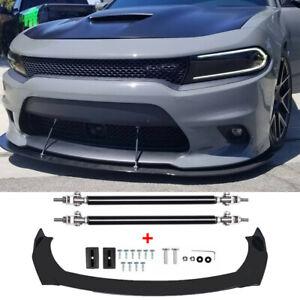 Front Bumper Lip Splitter Spoiler + Strut Rods For Dodge Charger SRT Challenger