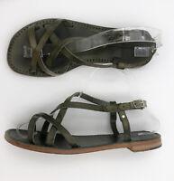 L'artigiano Del Cuoio Womens Sandals US 8 EU 38 Leather Dark Green Strappy Italy