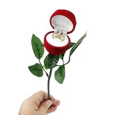 Red Rose Jewelry Gift Box Case for Ring Earring Romantic Engagement Wedding Ring