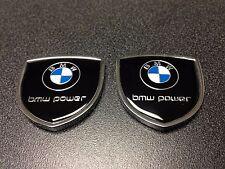 Metal BMW Power Emblem (2pcs) Side Badge Sticker Decal Fender Hood Trunk Door