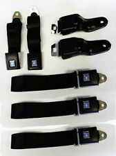 New Black Seat belts GM logo 1967-1969 Firebird Camaro Retractable OE Style 5 pc