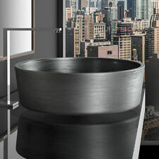 RHO Matt Grey Vanity Wash Basin, 41cm Round, Counter, by Glass Design - Italy
