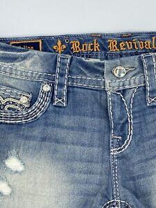 """$180 Rock Revival Jeans """"Jelina"""" Swarovski Crystal Leather Inserts Shorts Sz 30"""