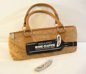 Primeware Insulated Wine Bottle Clutch Carrier Tote Purse w/ Opener Cork NEW