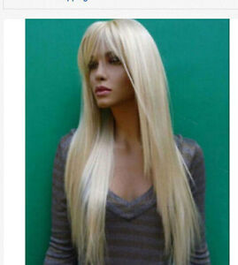 ZWW-JF20   fine New long blonde straight cosplay hair wigs for women wig