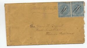 1863 Confederate States 5ct pair on cover Florida Railroad [S.357]