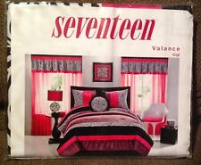 Seventeen Gigi Black Zebra Stripe Bright Pink Trim Valance Curtain New (Have 2)
