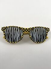 Sunglasses Play Dress Up Costume Funny Yellow/Black/White ZebraStripe Checkered