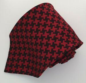 Men's Tie NEXT Red/Black Dogtooth Pattern 100% Silk Necktie