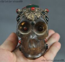 Rare Old Tibet crystal inlay Silver Gem jade Skull Skeleton Cranium Head Statue