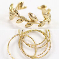 2Pcs Cut Above Knuckle Leaf Band Midi Mid Finger Top Stacking Split Rings Set C