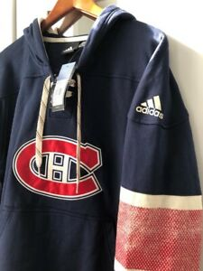 Adidas Montreal Canadien NHL Jersey Lace-Up Pullover Hoodie Navy XL (NEW)