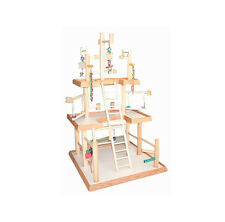 "Play Gyms For Birds Wood Table Top Play Pen for Cockatiels Base 22""x21"" 3 levels"