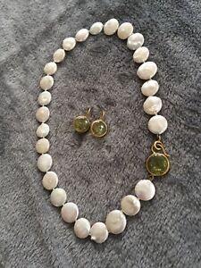 Svea Juen Austria 750 yellow gold green peridot flat pearls necklace earring set