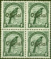 New Zealand 1937 1s Dp Green SG0131 V.F MNH Block of 4