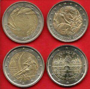 ITALIE 4 X 2 EURO commémoratives 2004 - 2005 - 2006 - 2017