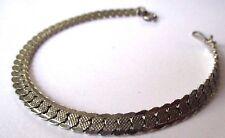 bracelet bijou rétro maille plate gravée couleur argent poli brillant * 341