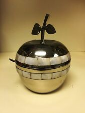 Nickel Silver Apple-Shaped Honey Pot with Pearlescent Inlays