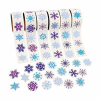 300 Snowflake Stickers Assortment 3 Rolls Christmas Gift Bag Sealer Wrap