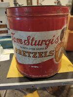 OLD Tom Sturgis Hearth Oven Backed Pretzels Vintage Tin Container without lid