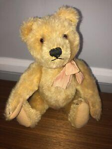"Vintage Steiff Teddy Bear Straw Stuffed 11"" With Button"