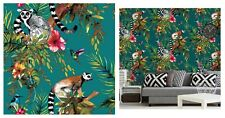 Holden Decor Lemur Teal Blue Multi Tropical Floral Wallpaper, 12402