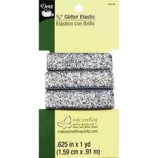 """Glitter Elastic 5/8""""X1yd Silver 072879282863"""