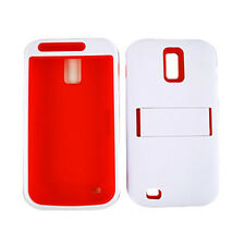 Red Soft Case + White Hard Hybrid Cover For Samsung Galaxy S 2 II T989 T-Mobile