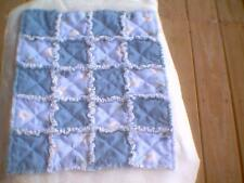 """Handmade American girl or 18/"""" doll Rag Quilt blue and blue flowers"""
