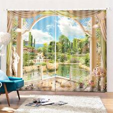 2 Panel 3D Printed Landscape Window Curtain Door Bedroom Valance Divider Sheer